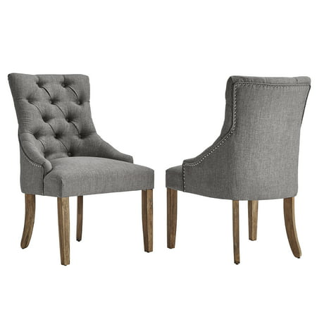 Chelsea Lane Curved Back Linen Tufted Dining Chair, Set of 2, Multiple (Chelsea Chair Set)