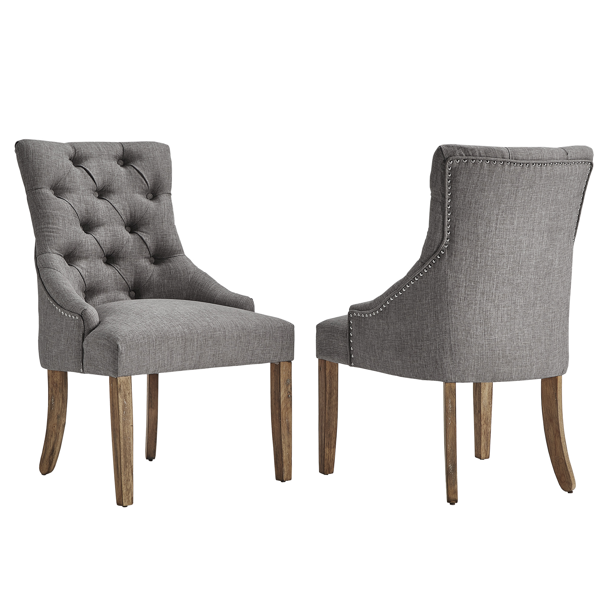 Chelsea Lane Curved Back Linen Tufted Dining Chair, Set of 2, Multiple Colors