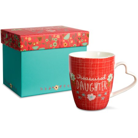 Daughter Porcelain (Pavilion - Treasured Daughter Red Floral Porcelain Coffee Mug Teacup with Heart Shaped Handle )