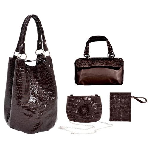 Parinda Women's Adria Croco Embossed Faux Leather Travel Tote Set Black