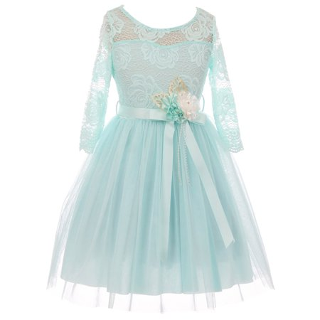 Little Girls Long Sleeve Girls Dress Floral Lace Blushs Corsage Christmas Flower Girl Dress Aqua 4 (J20KS98)
