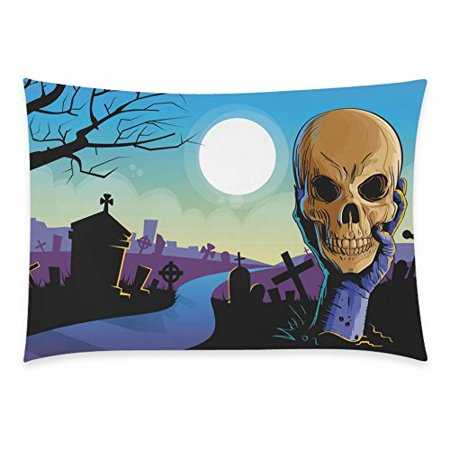 ZKGK Home Decor Halloween Night , Zombie Hand Hold Dead Skull Head Pillow Cover Case Shams Decorative,Best Halloween Gifts Pillowcase 20 x 30