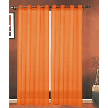 Elegant Comfort Luxury 2-Piece Grommet SHEER PANEL/CURTAIN - Window Curtains 54-inch width X 84-inch Length -  Neon - Neon Orange Curtains
