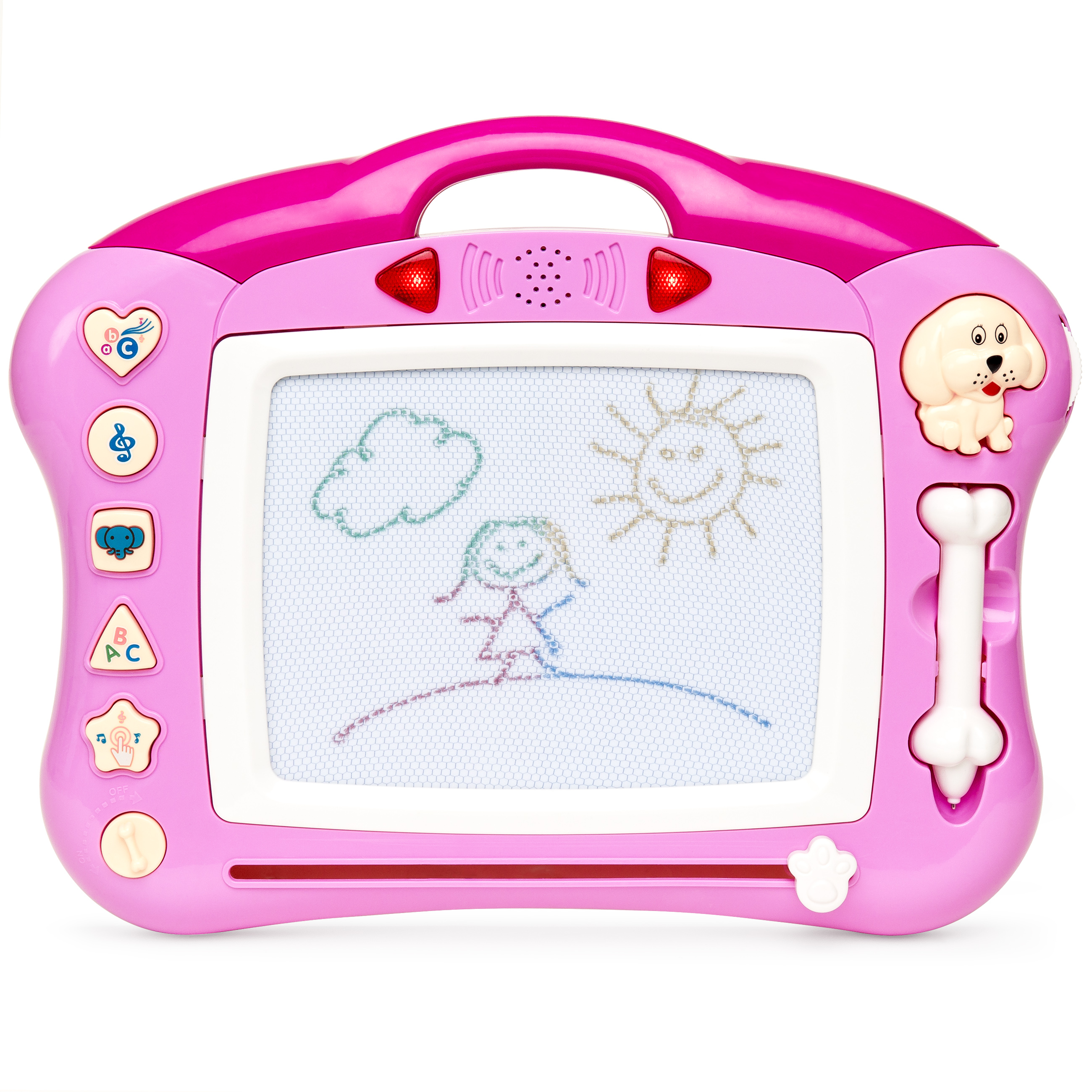 Best Choice Products Magnetic Drawing Kid Learning Doodle Pad with Retractable Pen & Musical Tunes (Pink)