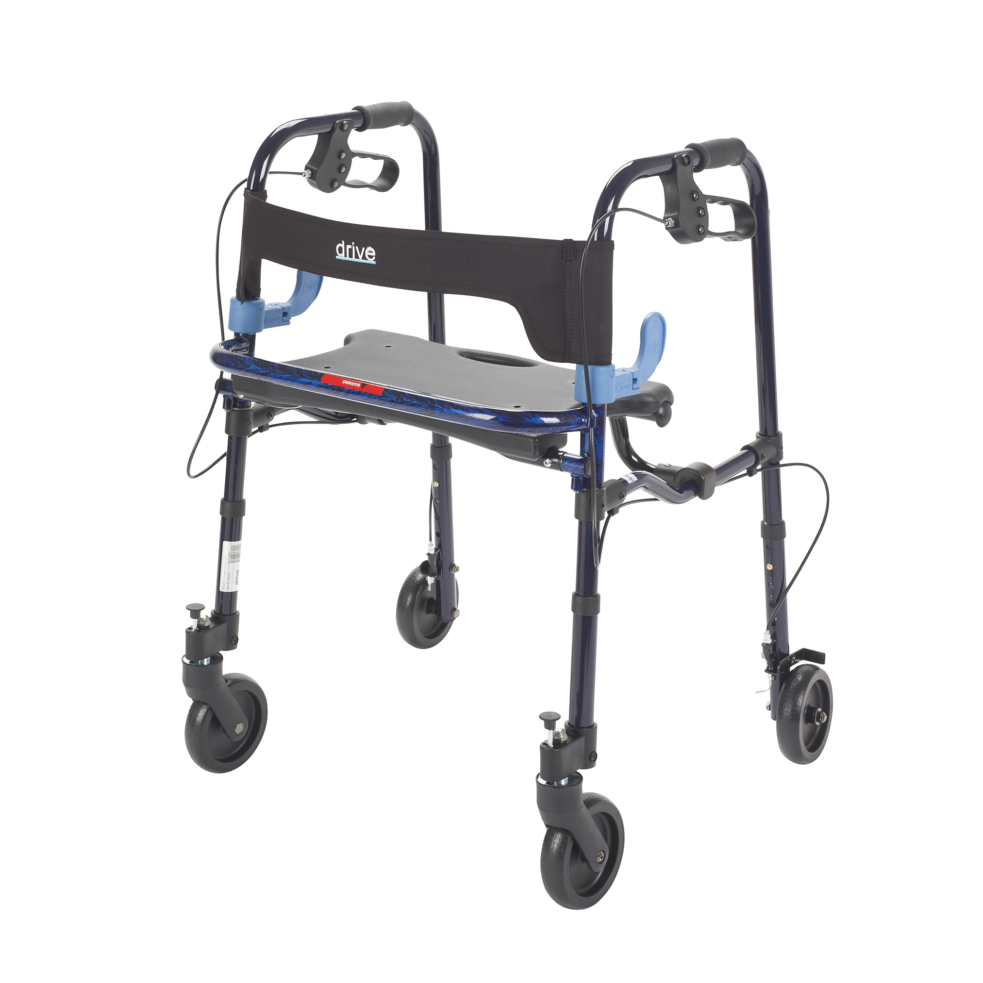 "Drive Medical Clever Lite Walker Rollator, Junior, 5"" Wheels, Flame Blue"