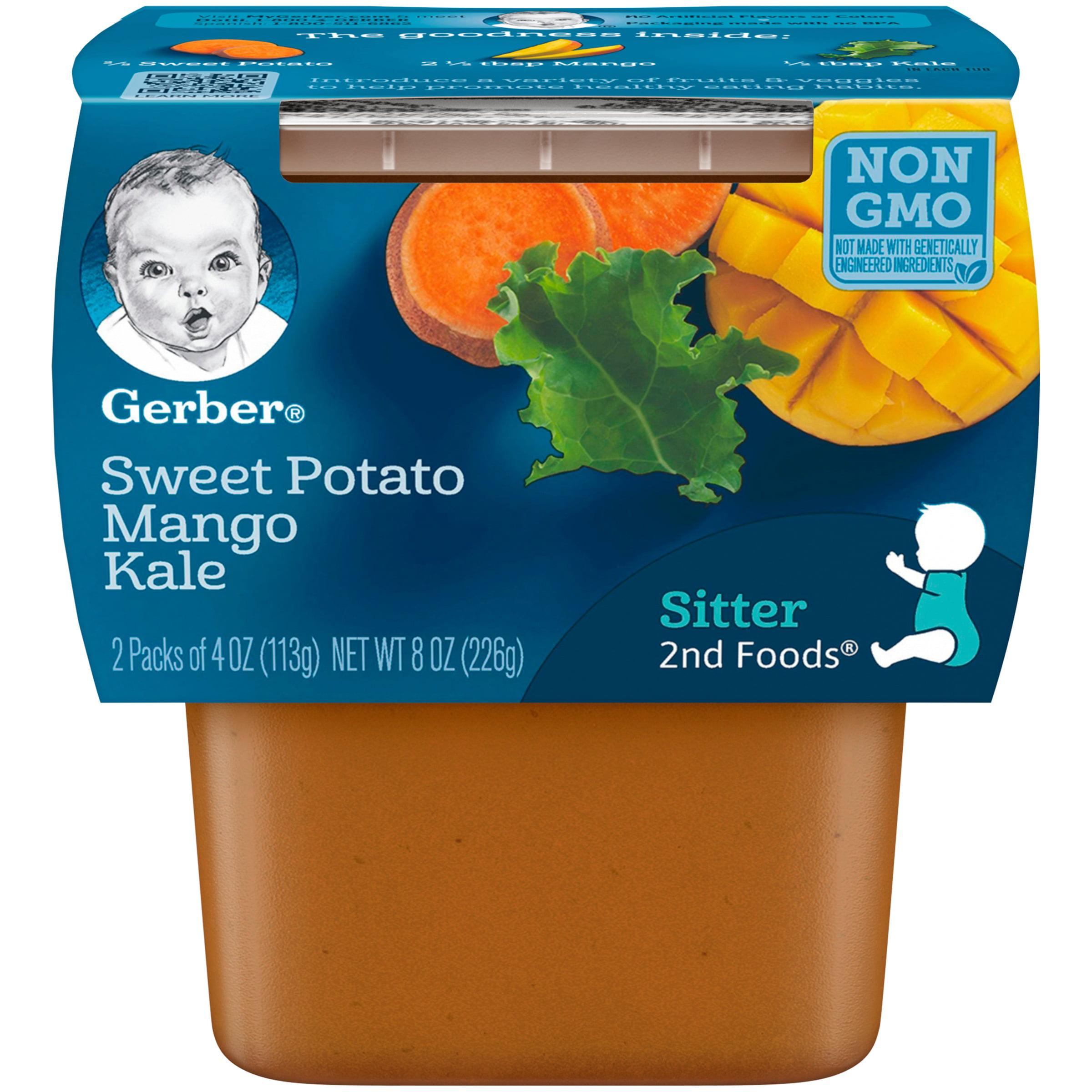 Gerber 2nd Foods Sweet Potato Mango Kale Baby Food, 6-4 oz. Tubs