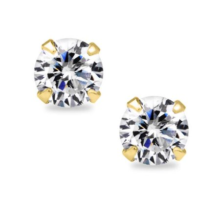 Jewelry 14k Yellow Gold Round-cut 6mm CZ April Birthstone Earring Safety Screw-back (Children's Birthstone Jewelry)