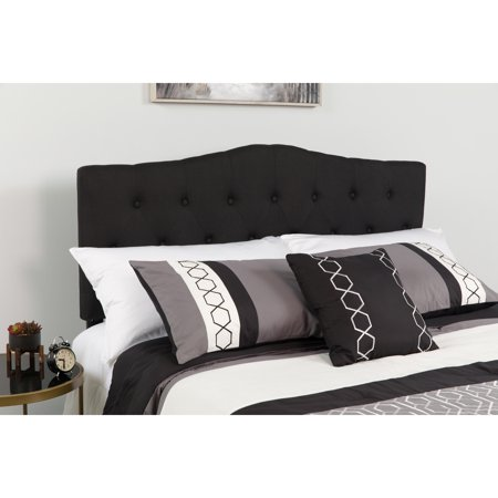 Flash Furniture Cambridge Tufted Upholstered King Size Headboard in Black