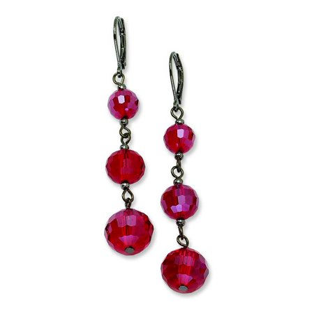 - Black-plated Red Crystal Bead Linear Drop Earrings