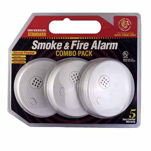 Universal Security Instruments SS-770-3P Battery Powered Ionization Smoke and Fire Alarm, 3 Pack