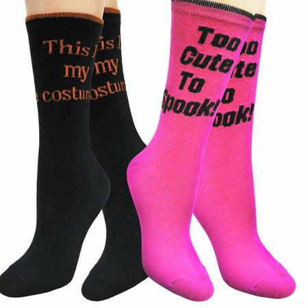 Teehee Halloween Women Crew Socks 2 Pack  My Costume  Too Cute To Spook
