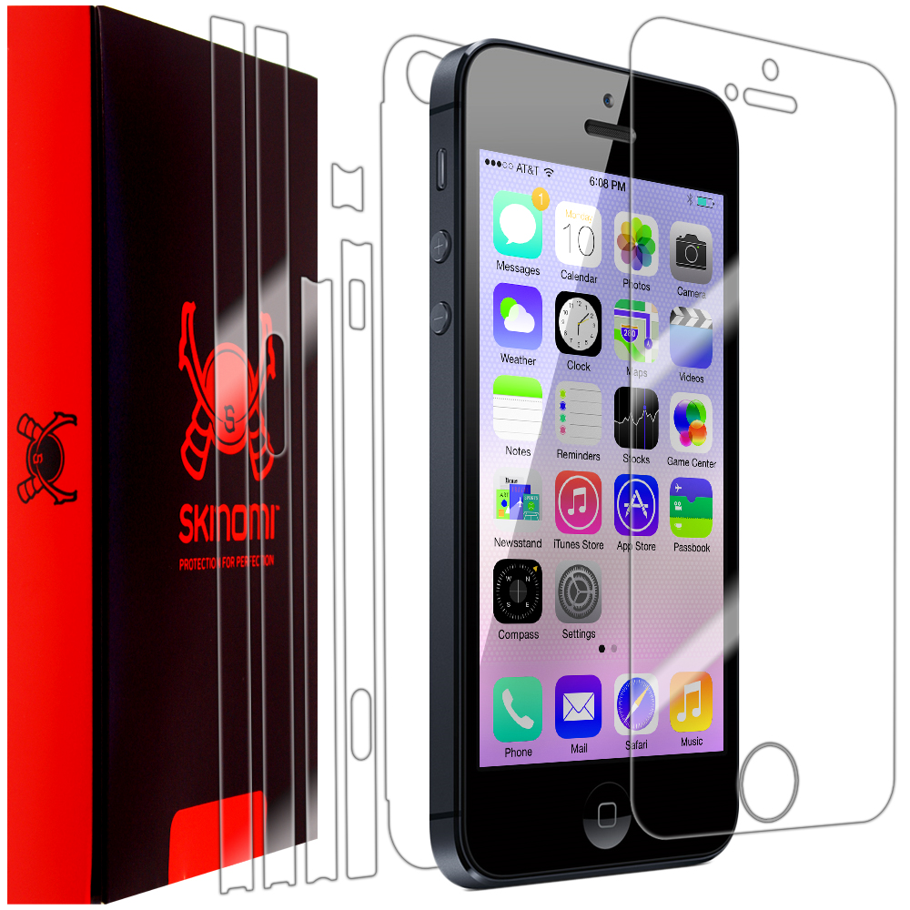 Skinomi Transparent Clear Full Body Protector Film Cover for Apple iPhone 5S