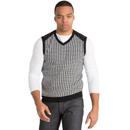 Vibes Gold Label Mens Black/Ecru Duotone Houndstooth High-V Neck Sweater Vest PU Shoulder Panel