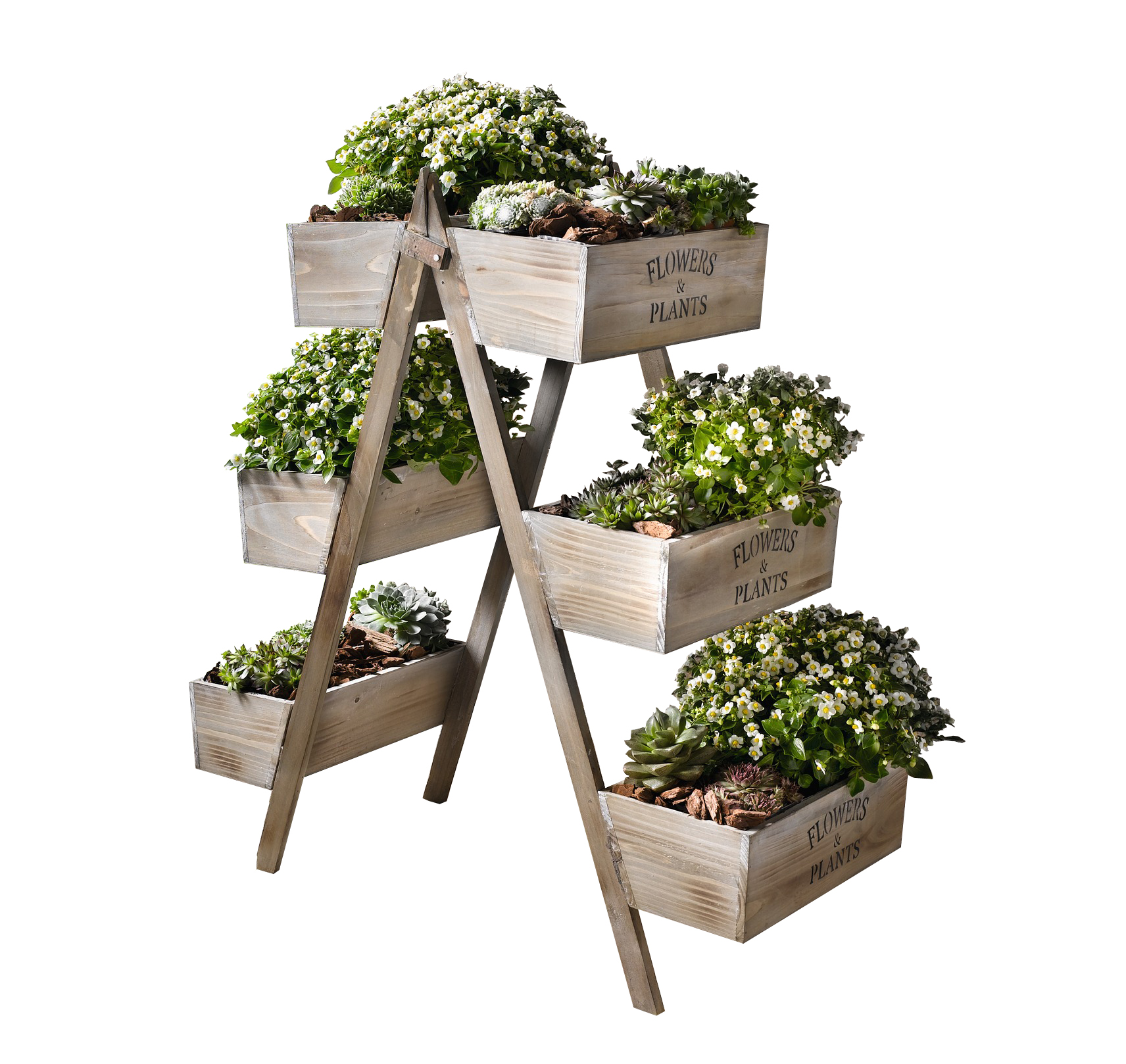 Flowers & Plants Foldable Wooden Plant Stand w  Six Seed Boxes by Kozy Life