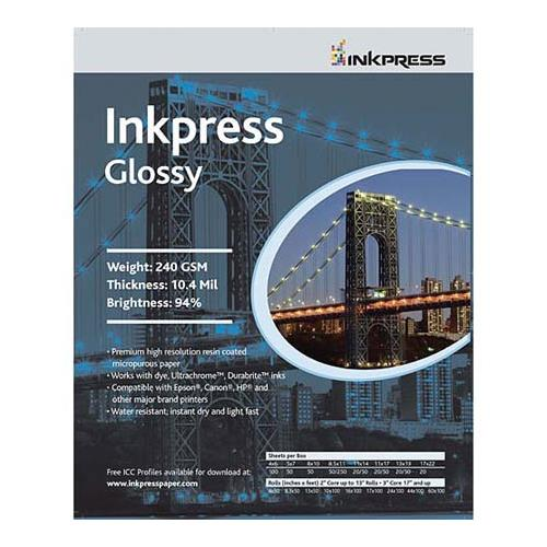 """Inkpress Glossy, Single Sided Gloss Surface Inkjet Paper, 240gsm, 10.4 mil., 13x19"""", 100 Sheets"""
