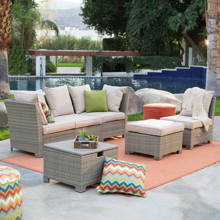 Coral Coast South Isle All-Weather Wicker Natural Outdoor Conversation Set with Beige Cushions ()