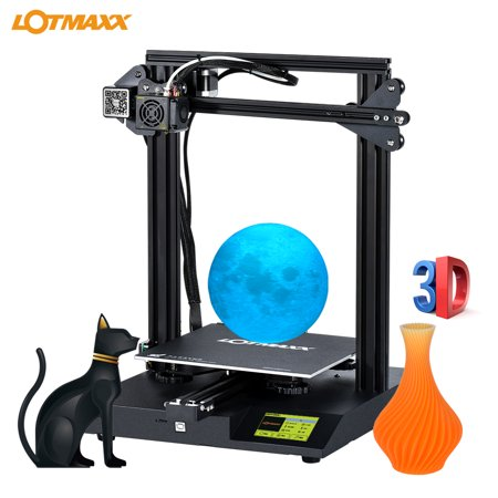LOTMAXX SC-10 Desktop 3D Printer Kit Silent Printing 235*235*280mm Build Volume with 3.5 Inch Touchscreen Built-in Safety Power Supply Resume Print Filament Run Out Detection 16GB TF Card White PLA Sa