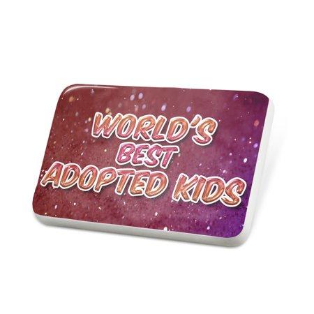 Porcelein Pin Worlds best Adopted Kids, happy sparkels Lapel Badge –