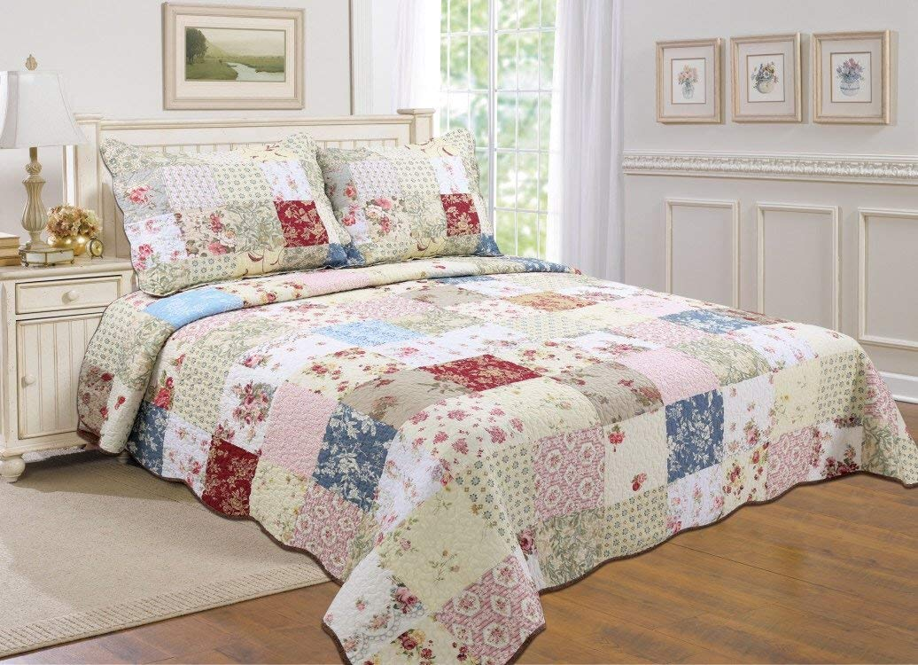 All for You 100% COTTON 3-piece Reversible Bedspread  Coverlet   Quilt Set- OverSize-Real... by All For You Home
