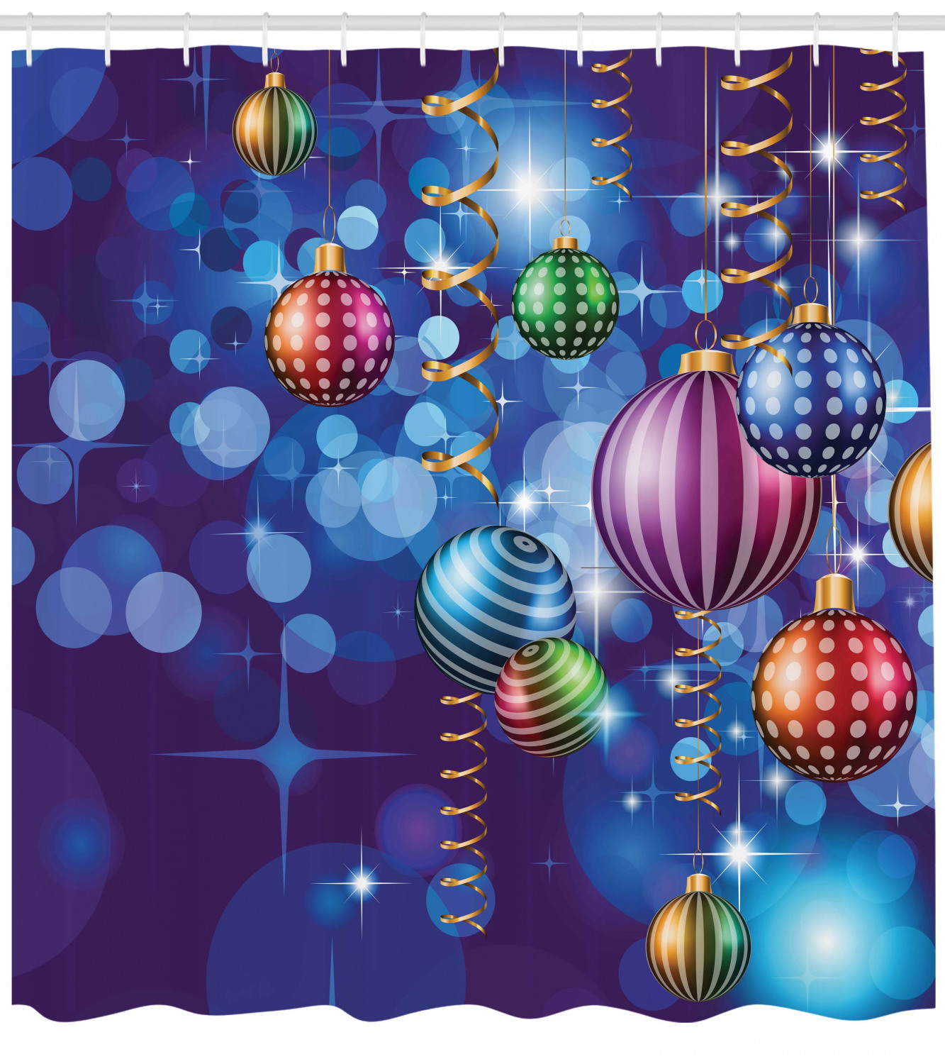 Christmas Shower Curtain Happy New Year Party Print for Bathroom