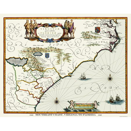 Florida Southeast Coast Map.Old State Map Virginia To Florida Southeast Coast 1640 29 13