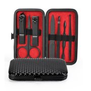 Manicure Set, Stainless Steel Professional Pedicure Kit Nail Scissors Grooming Kit with Leather Travel Case (7pcs-black)