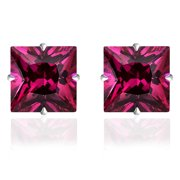 Orchid Jewelry 14k Solid White Gold 4 mm Princess-Cut Square Ruby CZ Stud Earrings