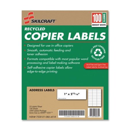 """Skilcraft Copier Address Labels, Recycled, 1""""x2-13/16"""", 3300/BX, WE 0864518"""
