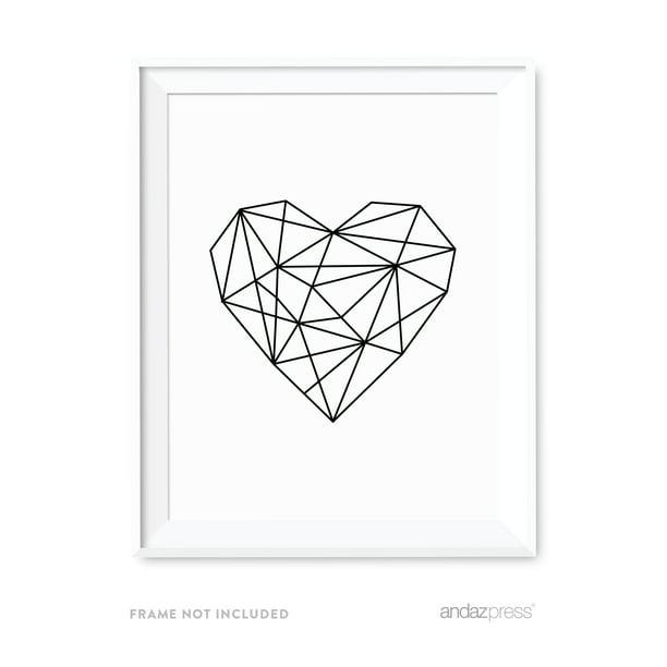 Heart Geometric Shapes Origami Wall Art Black White Minimalist Print Walmart Com Walmart Com