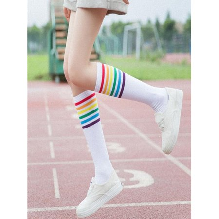 1Pair Thigh High Socks Over Knee Rainbow Stripe Girls Football Socks Black White