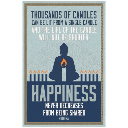 Thousands Of Candles Happiness Quote Buddha Art Print Poster 12X18