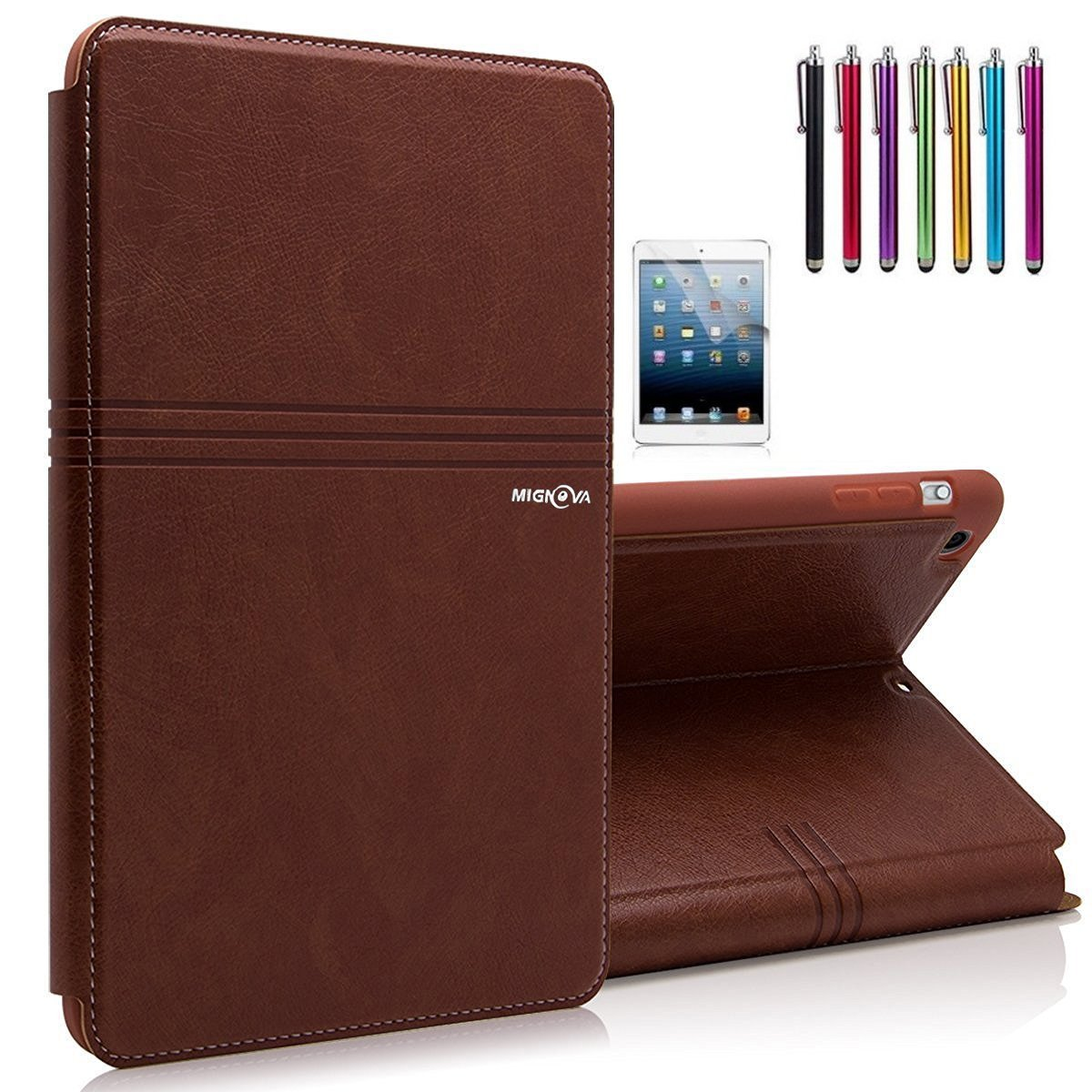 Mignova Slim Lightweight Leather Folio Magnetic Smart Case Cover For Apple iPad Air (iPad 5th Generation, 2013 release) (2nd Brown)