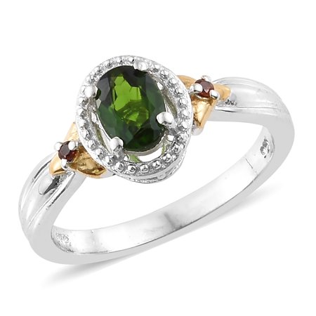925 Sterling Silver Yellow Gold Platinum Plated Oval Chrome Diopside Garnet Statement Ring for Women Cttw 0.7 ()