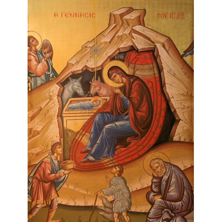 Greek Orthodox Icon Depicting Christ's Birth, Thessaloniki, Macedonia, Greece, Europe Print Wall Art By Godong