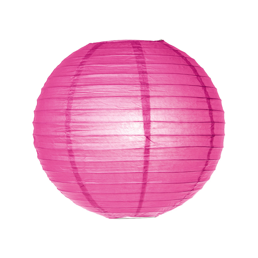 Luna Bazaar Paper Lantern (8-Inch, Parallel Style Ribbed, Hot Pink) - Rice Paper Chinese/Japanese Hanging Decoration - For Home Decor, Parties, and Weddings