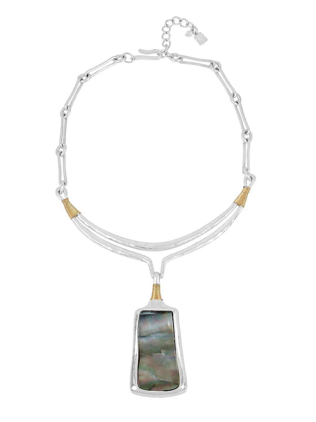Bold Moves Two-Tone Plated Sculptural Pendant Necklace