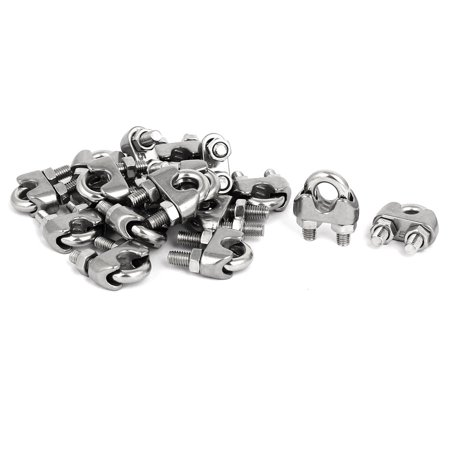 M5 1/4 Inch 304 Stainless Steel Saddle Clamps Cable Wire Rope Clips 18PCS