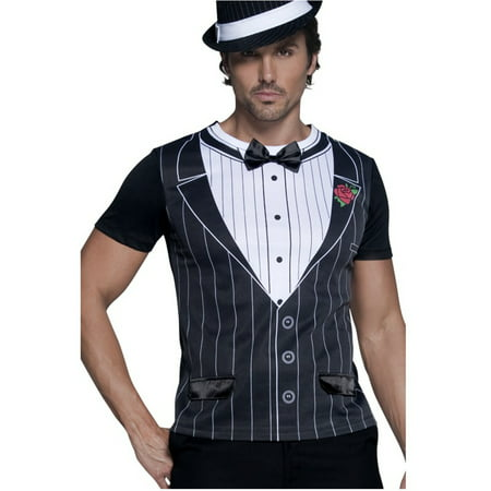 Mens Roaring 20s Black And White Gangster Instant Shirt Costume (20s Headpiece)
