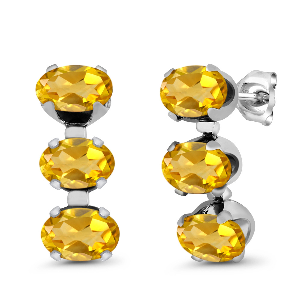 2.40 Ct Oval Yellow Citrine 925 Sterling Silver 3-Stone Earrings