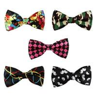 BMC 5 pc Mens Mixed Color Assorted Pattern Pre-Tied Adjustable Neck Tie Bowties
