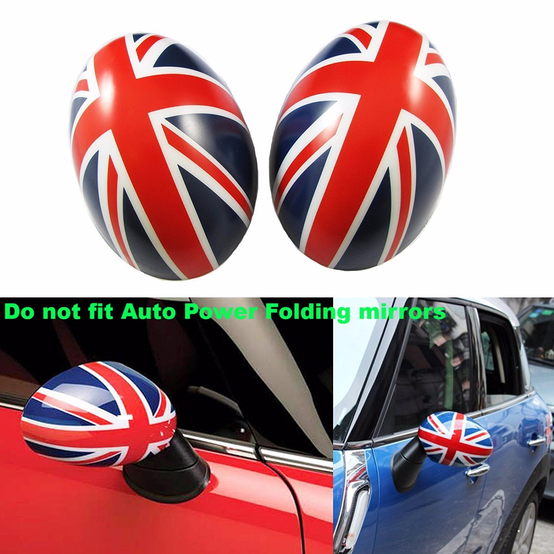 Xotic Tech 1 Set Black Union Jack Side Mirror Covers Caps For MINI Cooper R55 R56 R57 R60 R61 Driver/Passenger Side