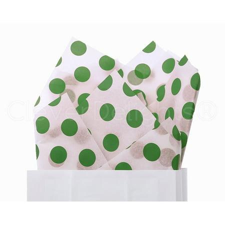 - CleverDelights Green Polka Dot Premium Tissue Paper - 100 Sheets - 20