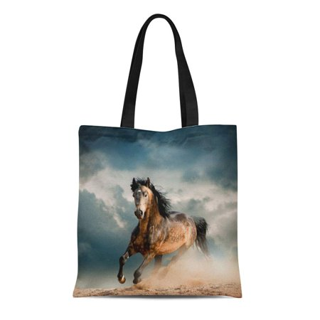 ASHLEIGH Canvas Tote Bag Orange Horse Wild Stallion in Dust Gray Run Freedom Reusable Shoulder Grocery Shopping Bags Handbag ()