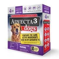 Advecta 3 Tick, Flea, and Mosquito Repellent and Treatment for Large Dogs, 4 Monthly Doses