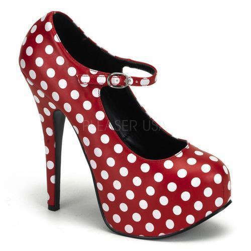 Bordello Shoes Teeze Red Pu-Wht Polka Dots Size: 7