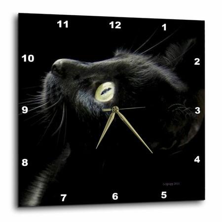 3dRose black cat face, Wall Clock, 15 by 15-inch (Cat Clock Small)