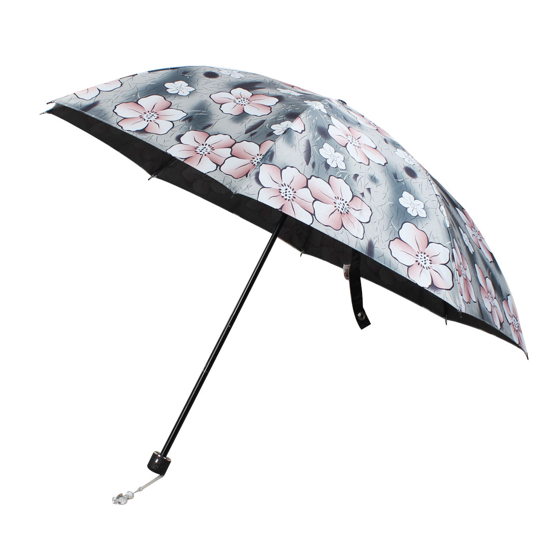 Outdoor Travel Flower Pattern Elastic Foldable Rain Umbrella
