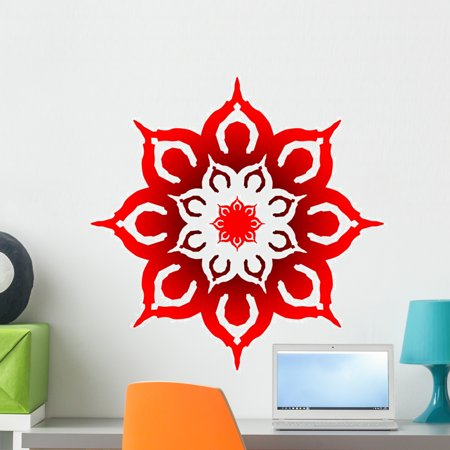 Om Prayer Mandala Red Wall Decal by Wallmonkeys Peel and Stick Graphic (24  in H x 24 in W) WM192047