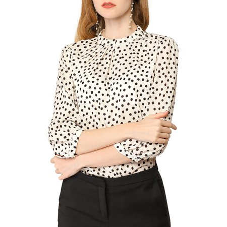 Women's Dot Print Pleated Neck 3/4 Sleeve Office Blouse Top L Beige