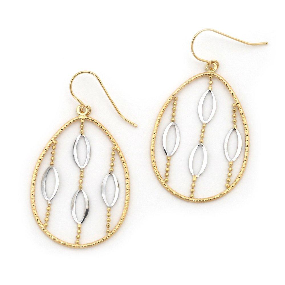 "14k White and Yellow Gold Two-Tone Diamond Cut Oval Dangle 1.6"" Earrings"